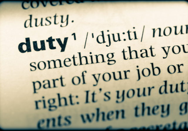 image of dictionary definition of duty