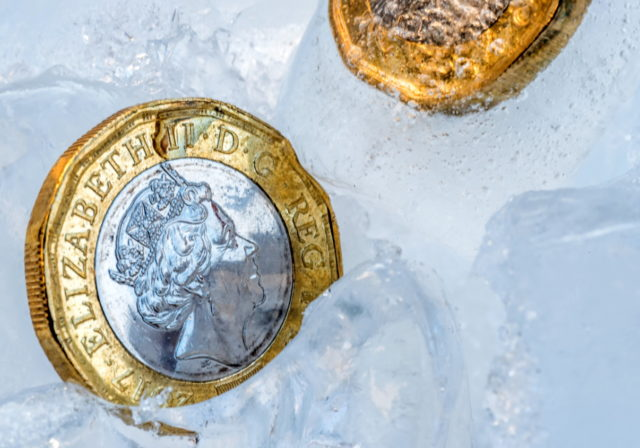 image of pound coin in ice