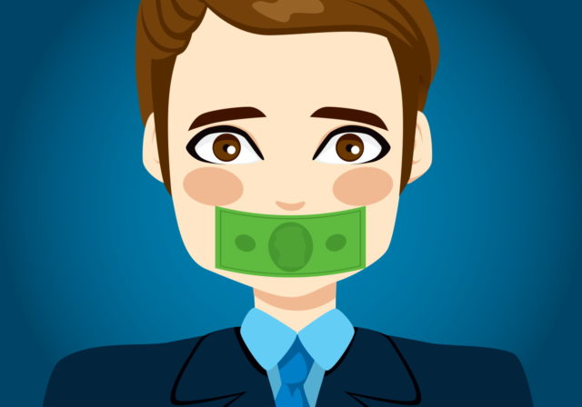face with bank note over mouth
